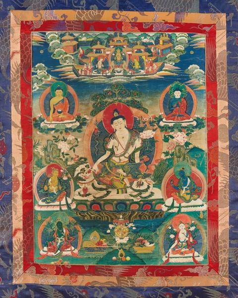 A Tibetan thangka of Simhanada Avalokiteshvara. Early 20th century -