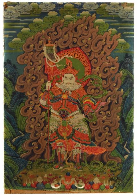 Thangka des Vaishravana. Sinotibetisch. Um 1900 -
