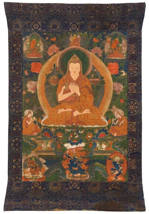 A Sinotibetan thangka of Tsongkhapa. 18th/19th century -