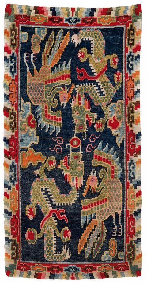 A Tibetan wool carpet (khaden). Early 20th century -