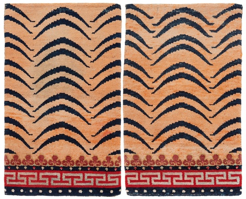 A Tibetan pair of small carpets. Mid-20th century -