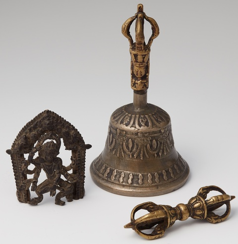 A Tibetan bronze vajra and mixed metal ghanta -