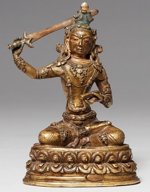 Figur des Manjushri. Bronze. Tibet. 15./16. Jh. -