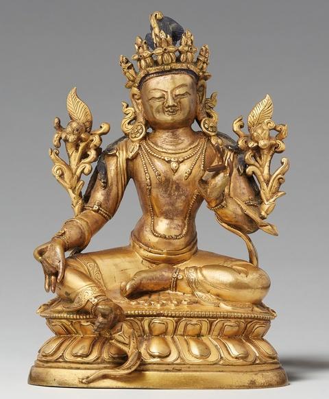 A Sinotibetan gilt bronze figure of a Green Tara. 18th/19th century -