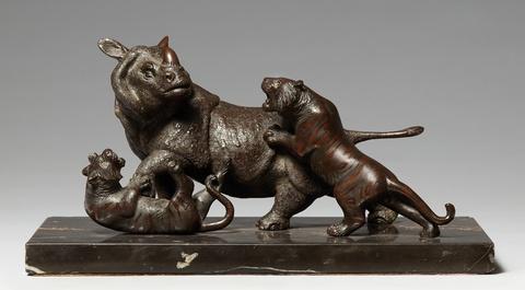 Nashorn und zwei Tiger. Bronze. Um 1900 -