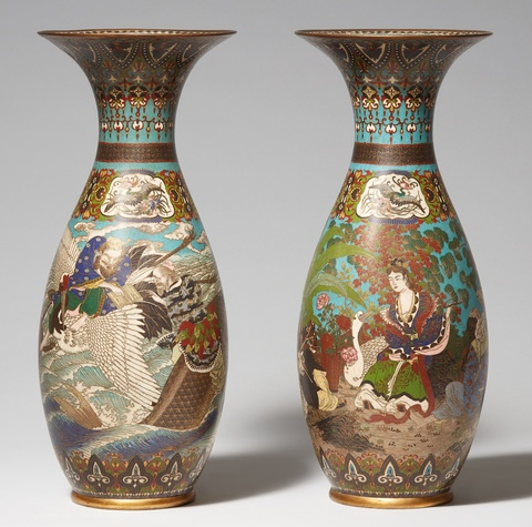 A pair of large cloisonné vases. Late 19th century -