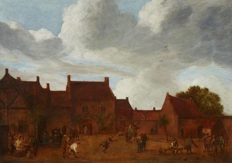 David Teniers d. J., Nachfolge - Trinkende und bocciaspielende Bauern vor einem Gehöft