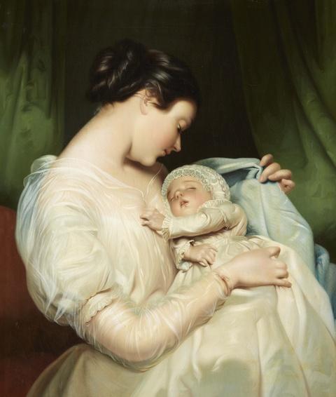 James Sant, zugeschrieben - Elizabeth Sant, die Frau des Malers, mit Tochter Mary Edith