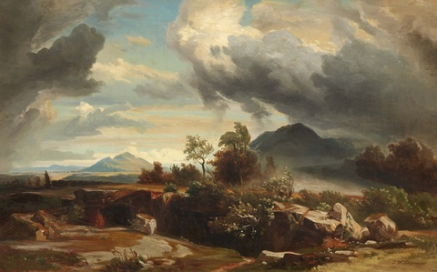 Johann Wilhelm Schirmer, circle of - Approaching Storm in the Roman Campagna