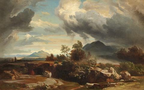 Johann Wilhelm Schirmer, Umkreis - Heranziehendes Gewitter in der römischen Campagana