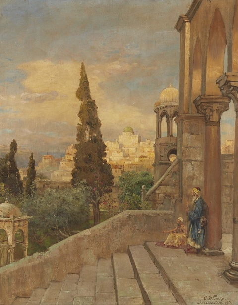 Carl Wuttke - Blick vom Ölberg auf den Tempelberg in Jerusalem