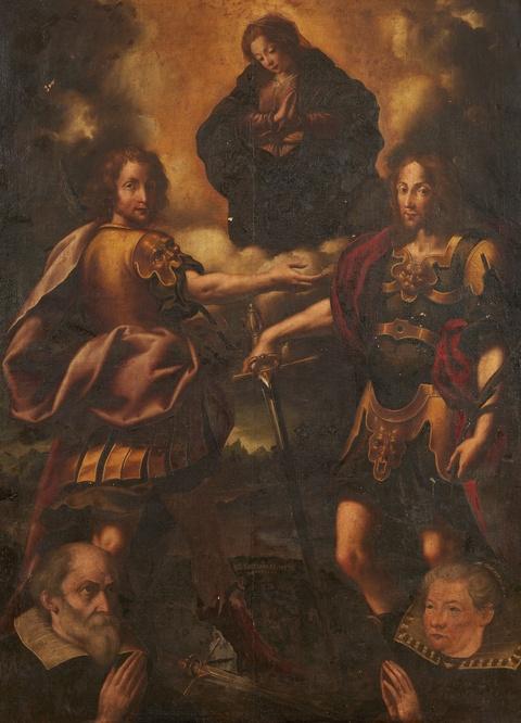 Lombardischer Meister des frühen 17. Jahrhunderts - Maria mit den Schutzheiligen der Stadt Brescia, den hl. Faustino und Giovita sowie zwei Stiftern