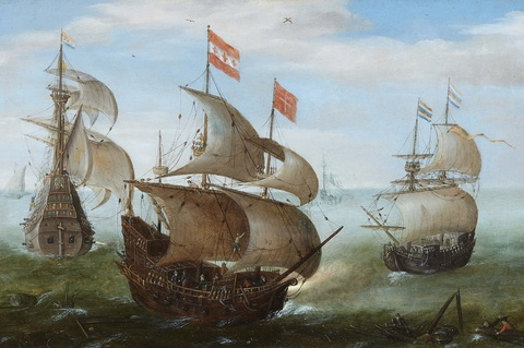 Netherlandish School 17th century - Two-Master on Calm Seas