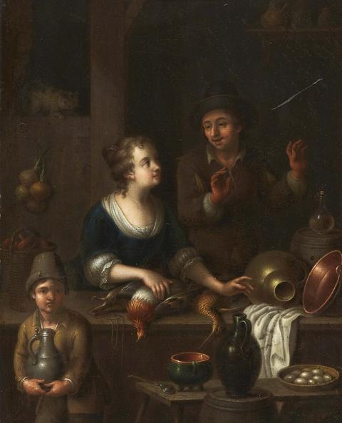 Niederländischer Meister Anfang 18. Jahrhundert - Zwei Marktszenen mit Wild- und Geflügelhändlern