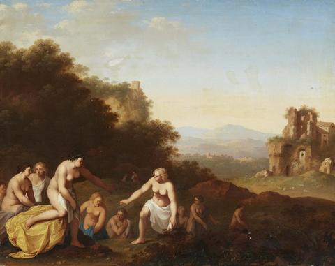 Cornelis van Poelenburgh, in der Art - Landschaft mit badenden Frauen