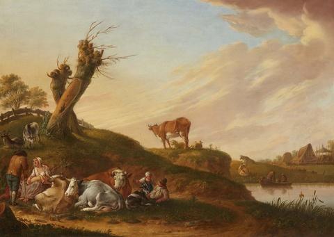 Heinrich Wilhelm (Hendrik Willem) Schweickhardt - Hirten und Herde an einem Flussufer