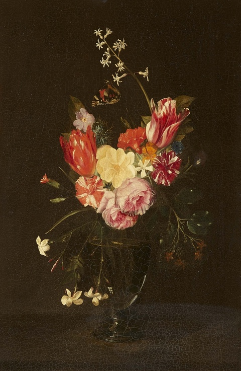 Daniel Seghers, follower of - Still Life with Flowers in a Glass Vase