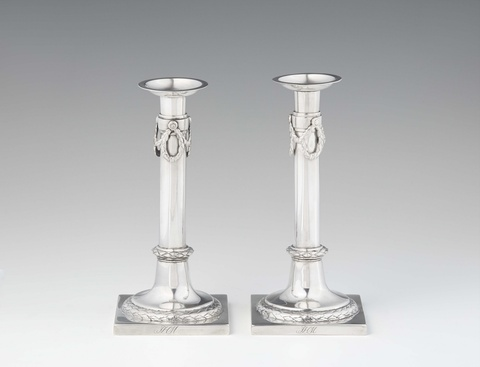 A pair of Brunswick silver candlesticks -