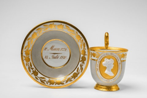 An early Berlin KPM porcelain cup commemorating Queen Louise of Prussia -