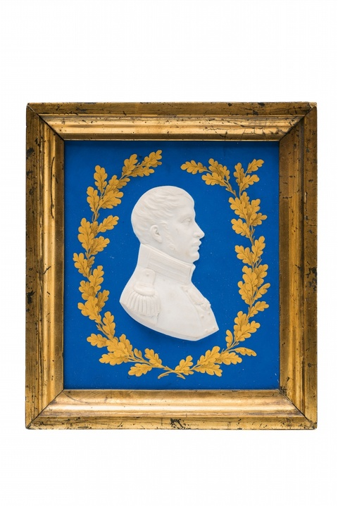 A Berlin KPM porcelain plaque with a portrait of Friedrich Wilhelm III -