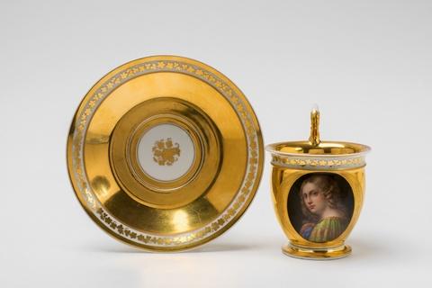 A signed Vienna porcelain cup with a portrait -