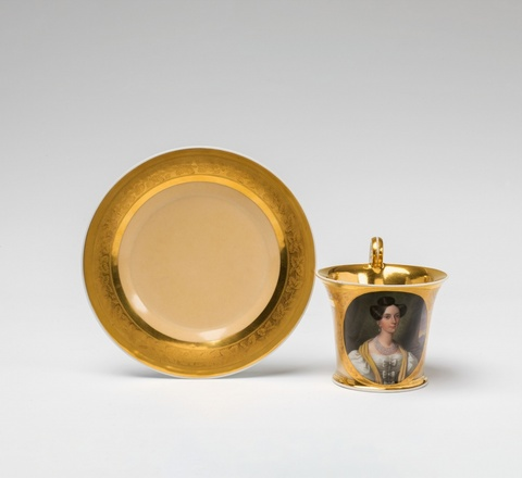 A Vienna porcelain cup with the portrait of Empress Maria Anna of Austria -