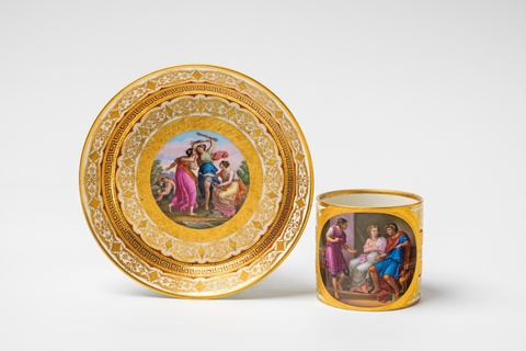 A Vienna porcelain cup and saucer with motifs after Angelika Kauffmann -