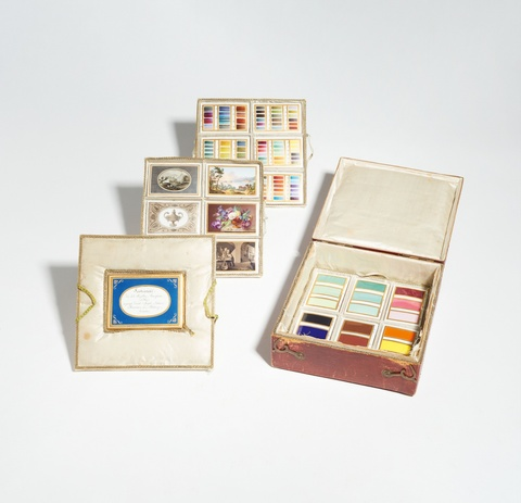 Twelve Vienna porcelain colour proof plaques and seven design proofs in the original case -