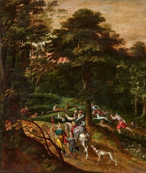 David Vinckboons - Waldlandschaft mit Hirschjagd