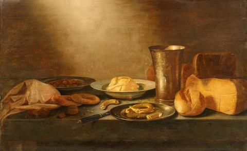 Floris van Schooten - Still Life with Cheese, Bread, and a Silver Beaker