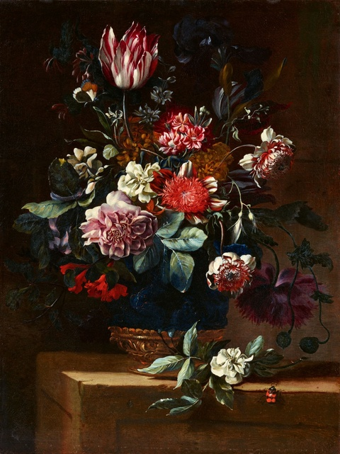 Jean-Baptiste Monnoyer - Still Life with a Tulip, Peonies, and Roses