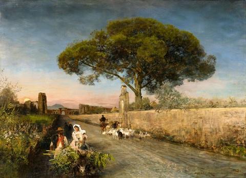 Oswald Achenbach - A Sunset in Campania