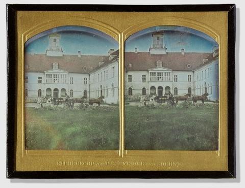 Wilhelm Schneider - Vierergespann vor einem Schlosseingang