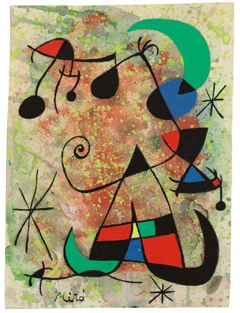 Joan Miró - Femme et oiseaux dans la nuit