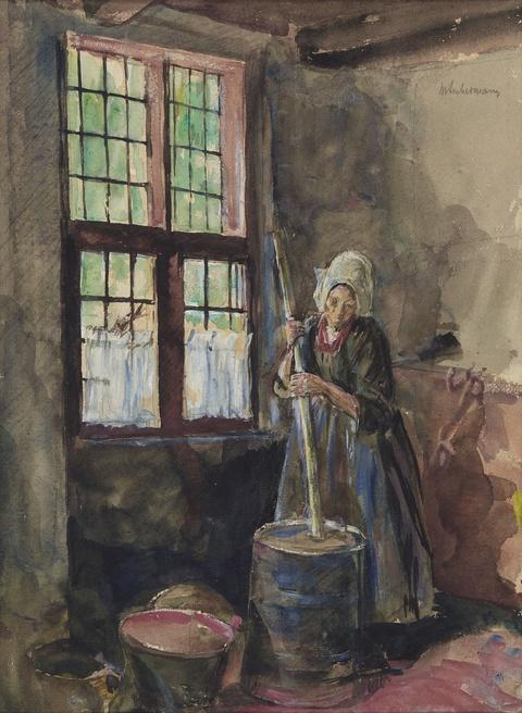 Max Liebermann - Frau beim Buttern (Frau aus Laren am Butterfaß)