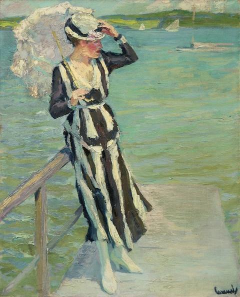 Edward Cucuel - Auf dem See - Dame im gestreiften Kleid mit Sonnenschirm