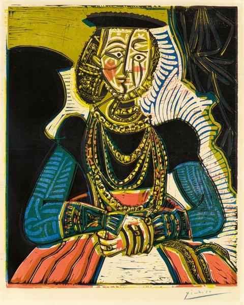 Pablo Picasso - Portrait de jeune Fille, d'après Cranach le Jeune. II