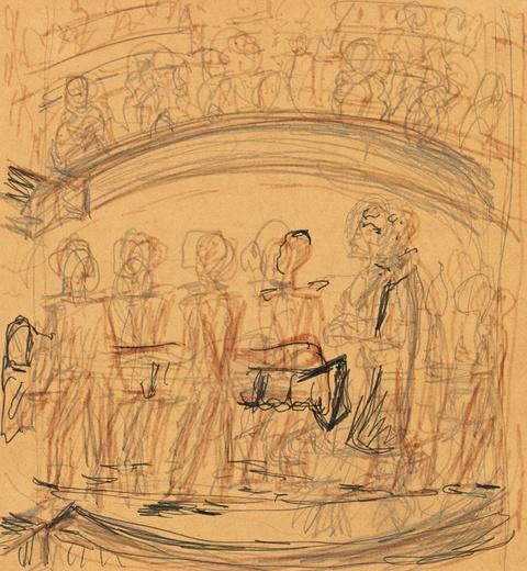 "Erich Heckel - Skizze nach dem Gemälde ""Zirkus-Scene"", Studie"