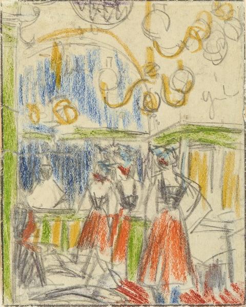 Ernst Ludwig Kirchner - Ballhaus mit tanzenden Mädchen