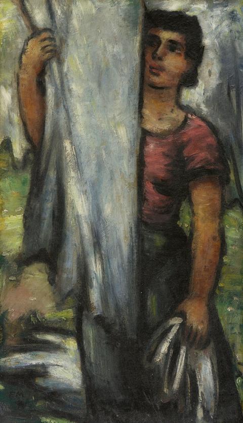 Frans Masereel - Wäsche aufhängende Frau