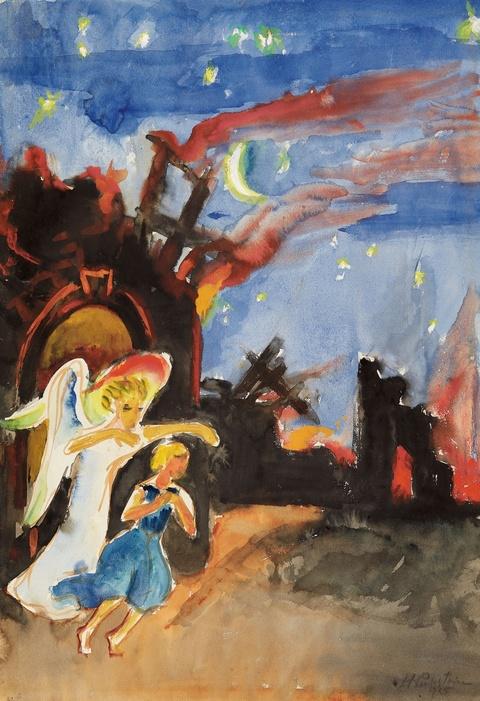 Hermann Max Pechstein - Käthchen und Cherub auf der Flucht aus brennendem Schloß. Verso: Schlossgraben
