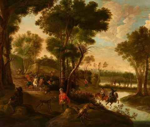 Jan Hackaert - Hunting Party in a Wooded Landscape
