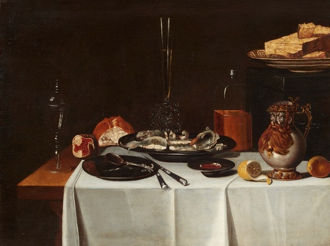 Netherlandish School 17th century - Large Dinner Still Life with a Bellarmine, Venetian Glass, and a Glass Goblet