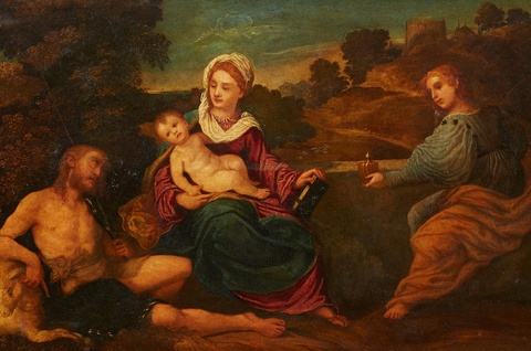 Venetian School probably of the 16th century - The Virgin with Child and Saints