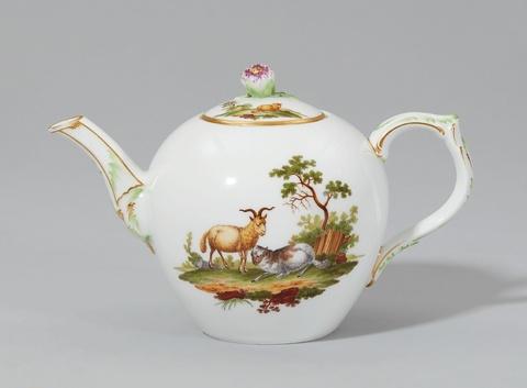 Teekanne mit pastoraler Szene -