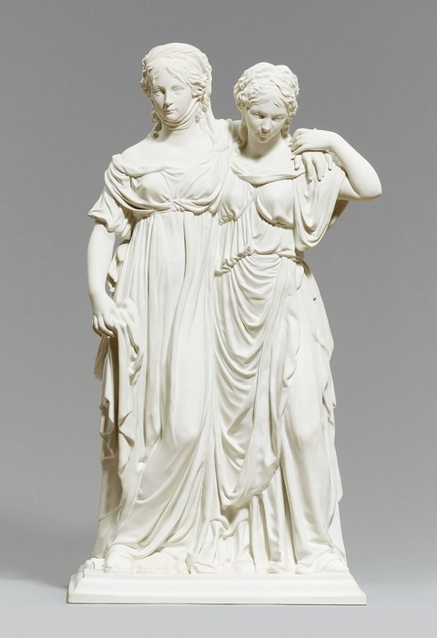A Berlin KPM biscuit porcelain group depicting the crown princess and princess Ludwig -