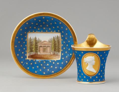 A rare Berlin KPM porcelain commemorative cup with matte blue ground -