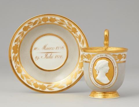 A Berlin KPM porcelain commemorative cup with Queen Louise -