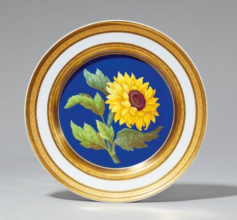 Botanischer Teller mit Sonnenblume -