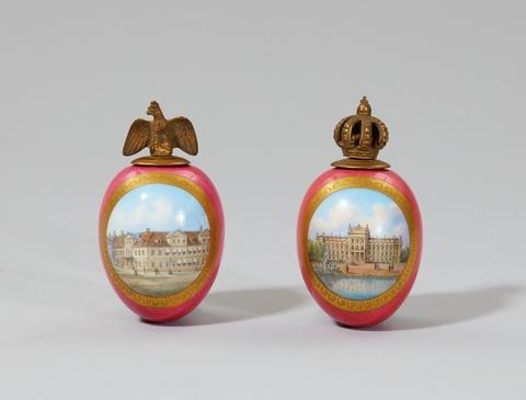 Paar Eiflakons mit Berliner oder Potsdamer Ansichten -